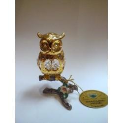 Złota sowa na gałązce - figurka