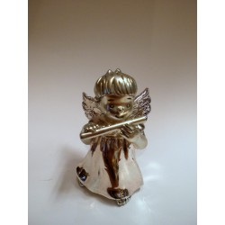 Srebrny Aniołek grający na flecie - figurka