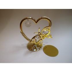 Złota figurka ozdobna - motyl w sercu