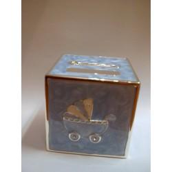Skarbonka - kwadratowa kostka z malunkami (niebieska)