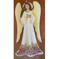 Anioł biały - z kwiatami