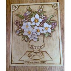 Obrazek na drewnie - wazon z kwiatami