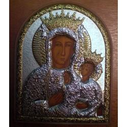 Ikona Matka Boska Częstochowska - (pisana, srebro nakładane)