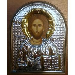 Ikona Jezus Pankrator - (pisana, srebro nakładane)