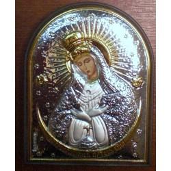 Ikona Matka Boska Ostrobramska (pisana, srebro nakładane)