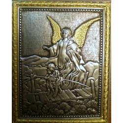 Ikona Anioł Stróż i dzieci przechodzące przez kładkę (metal oksydowany)