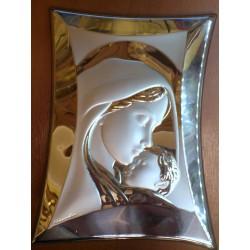 Obrazek srebrny - Maryja z dzieciątkiem (23 x 10 cm)