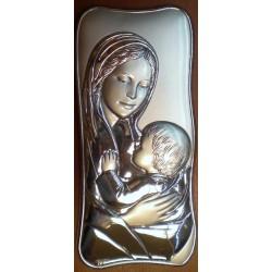 Obrazek srebrny - Maryja z dzieciątkiem (20 x 14,5 cm)