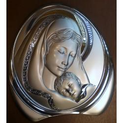 Obrazek srebrny - Maryja z dzieciątkiem (18 x 16,5 cm)