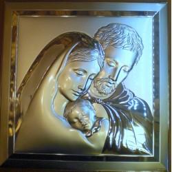 Obrazek srebrny - Święta Rodzina (27 x 27 cm)