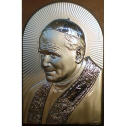 Obrazek srebrny - Papież Jan Paweł II (19,5 x 13 cm)