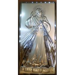 Obrazek srebrny - Jezu Ufam Tobie (18 x 9 cm)