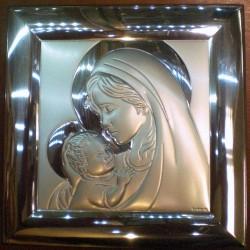 Obrazek srebrny - Maryja z dzieciątkiem (16 x 16 cm)