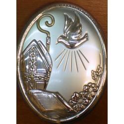 Obrazek srebrny - Gołąbek wraz z atrybutami kapłaństwa(7 x 5,5 cm)
