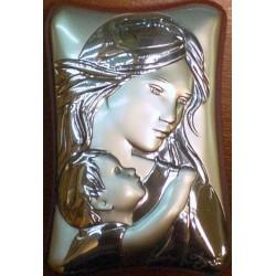 Obrazek srebrny - Maryja z dziciątkiem (8 x 5,5 cm)