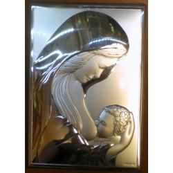 Obrazek srebrny - Maryja z dzieciątkiem Jezus (13 x 9 cm)
