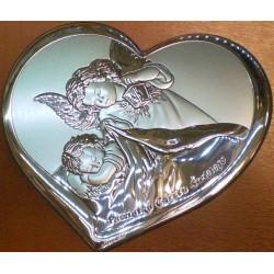 Obrazek srebrny - Pamiątka Chrztu Świętego (serce) (16,5 x 14 cm)