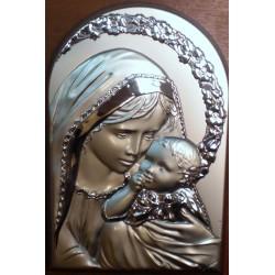 Obrazek srebrny - Maryja z dzieciątkiem (19,5 x 12,5 cm)