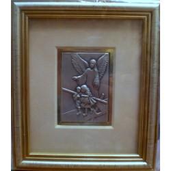 Płaskorzeźba srebrna (obrazek) - Anioł Stróż i dzieci przechodzące przez most drewniany (14,5 x 12,5 cm)