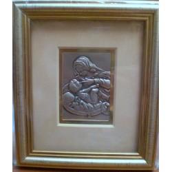 Płaskorzeźba srebrna (obrazek) - Maryja karmiąca dzieciątko Jezus (14,5 x 12,5 cm)
