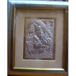 Płaskorzeźba srebrna (obrazek) - Anioł Stróż i dzieci przechodzące przez most drewniany (23 x 19,5 cm)