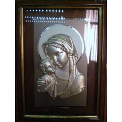 Płaskorzeźba srebrna (obrazek) - Maryja z dzieciątkiem Jezus (24 x 18 cm)