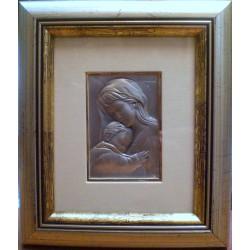 Płaskorzeźba srebrna (obrazek) - Maryja z dzieciątkiem Jezus (18 x 15,5 cm)