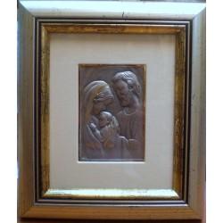 Płaskorzeźba srebrna (obrazek) - Święta Rodzina (18 x 15,5 cm)
