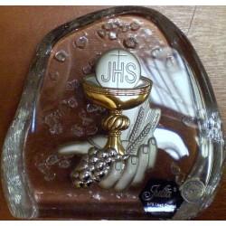 Przycisk kryształowy - pamiątka Komunii Świętej (10 x 11,5 cm)