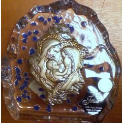 Przycisk kryształowy z wizerunkiem Świętej Rodziny (10 x 11,5 cm)