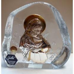 Przycisk kryształowy - Maryja z dzieciątkiem Jezus (10 x 11,5 cm)