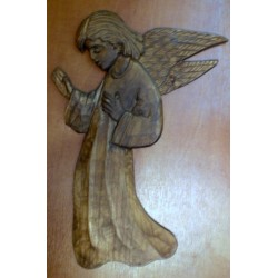 Płaskorzeźba drewniana - Anioł (30 x 20 cm)