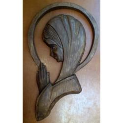 Płaskorzeźba drewniana - Maryja (29,5 x 18 cm)