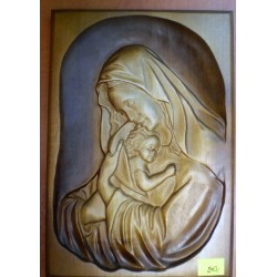 Płaskorzeźba drewniana - Maryja z dzieciątkiem Jezus (26,5 x 17,5 cm)