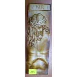Płaskorzeźba drewniana - Jezus w koronie cierniowej (22,5 x 7 cm)