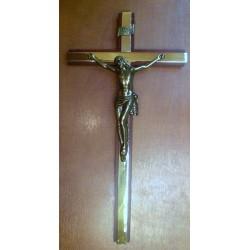Krzyż drewniany bordowo - złoty (35 x 18 cm)