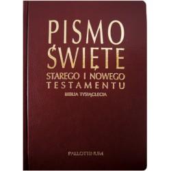 Pismo Święte Starego i Nowego Testamentu - Biblia Tysiąclecia Pallotinum (22 x 16 cm) - skóra mielona, złocone krawędzie