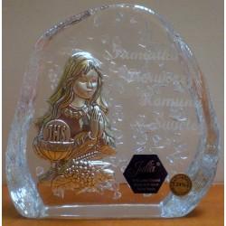 Przycisk kryształowy - Pamiątki I Komunii Świętej dla dziewczynki (11 x 11 cm)