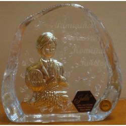 Przycisk kryształowy - Pamiątka I Komunii Świętej dla chłopca (11 x 11 cm)