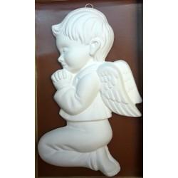 Relief gipsowy - Aniołek chłopiec (17 cm) biały