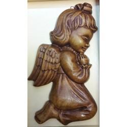 Relief gipsowy - Aniołek dziewczynka (17 cm) brązowy