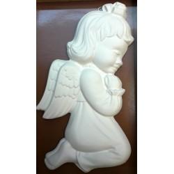 Relief gipsowy - Aniołek dziewczynka (17 cm) biały