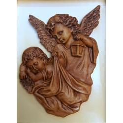 Relief gipsowy - Anioł Stróż (18 cm) brązowy