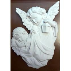 Relief gipsowy - Anioł Stróż (18 cm) biały