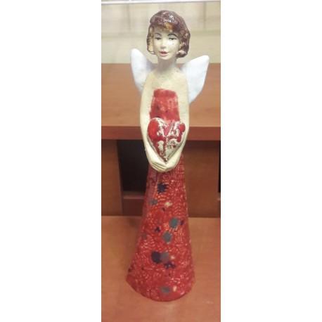 Figurka - Aniołek z serduszkiem czerwony (27 cm wysokości)