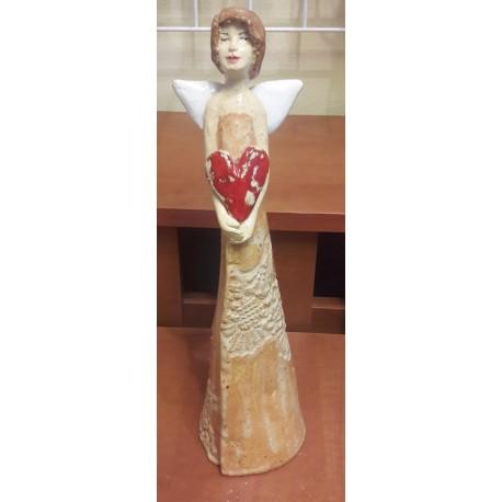 Figurka - Aniołek z serduszkiem pomarańczowy (32 cm wysokości)