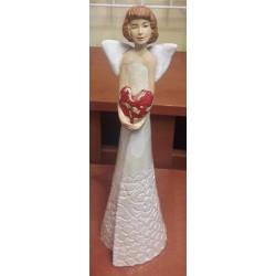 Figurka - Aniołek z serduszkiem biały (32 cm wysokości)